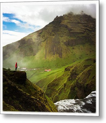 Waterfall And Mountain In Iceland Metal Print