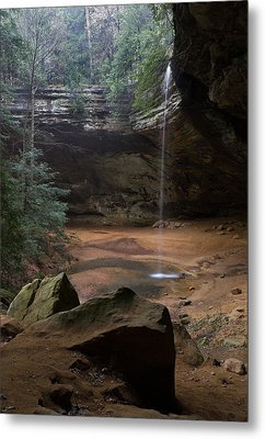 Waterfall At Ash Cave Metal Print