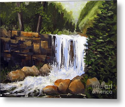 Metal Print featuring the painting Waterfall by Carol Hart