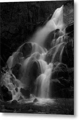 Waterfall In Black And White Metal Print by Bill Gallagher