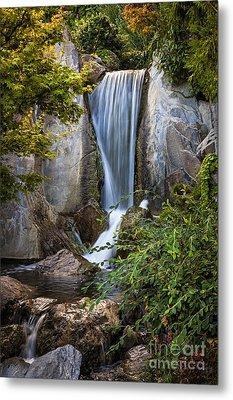 Waterfall In Japanese Garden Metal Print by Elena Elisseeva