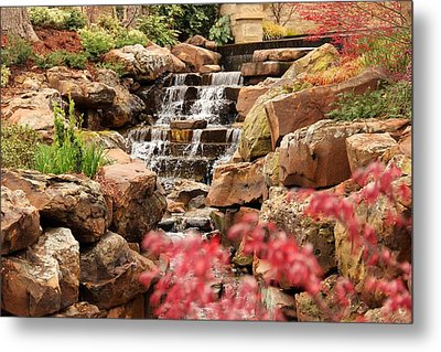 Metal Print featuring the photograph Waterfall In The Garden by Elizabeth Budd
