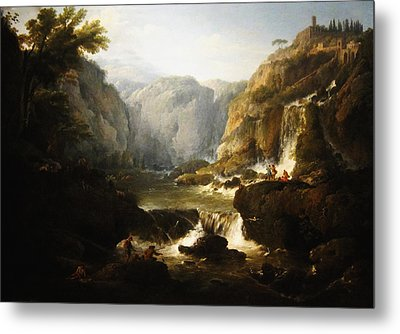 Metal Print featuring the digital art Waterfall by Joseph Vernet
