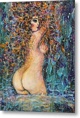 Waterfall Nude Metal Print by Natalie Holland