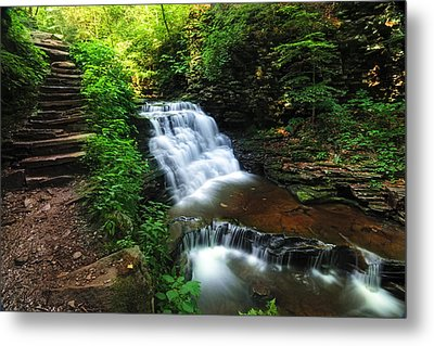 Waterfall Paradise With Stone Stairway Metal Print by Aaron Smith