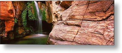 Waterfall Rushing Through The Rocks Metal Print by Panoramic Images