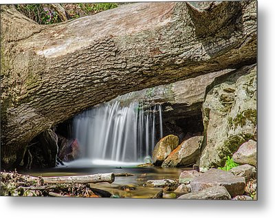 Waterfall Under Fallen Log Metal Print by Jonah  Anderson