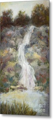 Waterfall With Gold Leaf By Vic Mastis Metal Print by Vic  Mastis