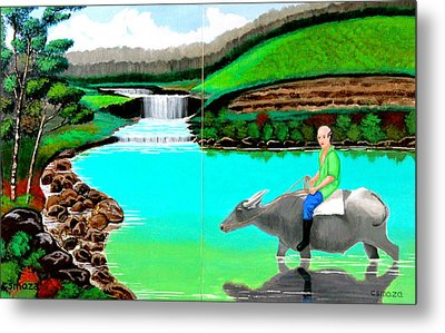 Metal Print featuring the painting Waterfalls And Man Riding A Carabao by Cyril Maza