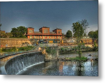 Waterfalls And Train Metal Print by Jim Lepard