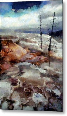Waterfalls At Yellowstone Metal Print by Kai Saarto