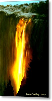 Metal Print featuring the painting Waterfalls By Light by Bruce Nutting