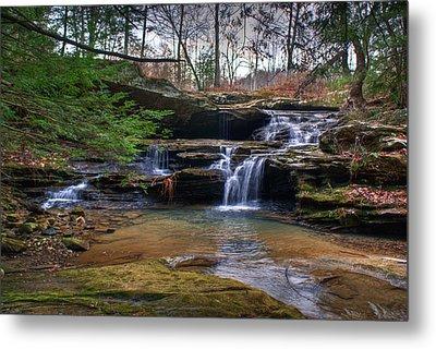 Waterfalls Cascading Metal Print by Douglas Barnett