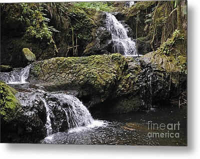 Waterfalls In Nature Metal Print