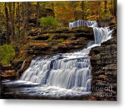 Waterfalls In The Fall Metal Print
