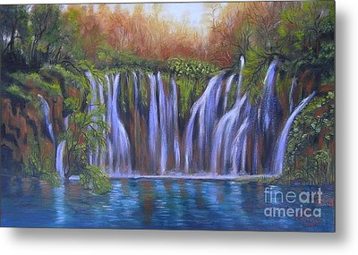Metal Print featuring the painting Waterfalls - Plitvice Lakes by Vesna Martinjak
