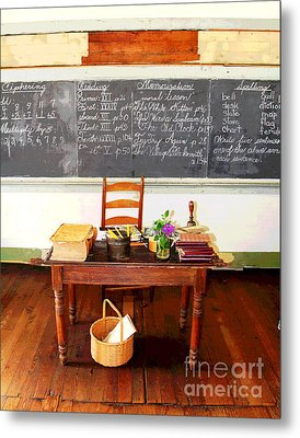 Waterford School Teacher's Desk Metal Print by Larry Oskin