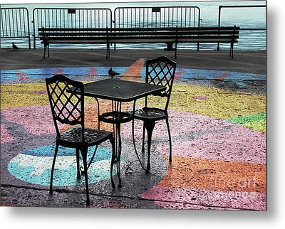 Waterfront Seating Metal Print by Charline Xia