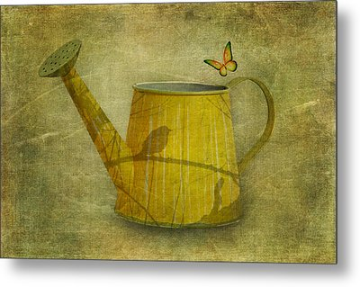 Watering Can With Texture Metal Print by Tom Mc Nemar