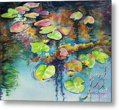 Waterlilies In Shadow Metal Print