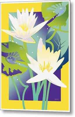 Waterlilies Yellow Border Metal Print