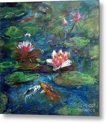 Metal Print featuring the painting Waterlily In Water by Jieming Wang