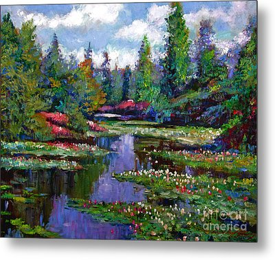 Waterlily Lake Reflections Metal Print by David Lloyd Glover