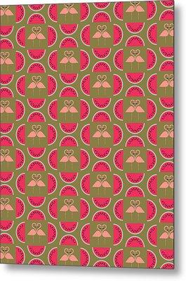 Watermelon Flamingo Print Metal Print