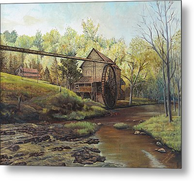 Metal Print featuring the painting Watermill At Daybreak  by Mary Ellen Anderson