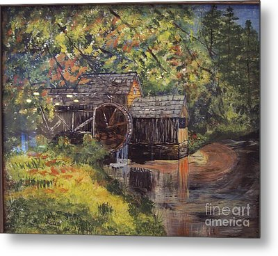 Waterwheel In Autumn Metal Print by Lucia Grilletto