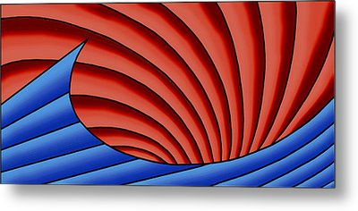 Metal Print featuring the digital art Wave - Blue And Red by Judi Quelland