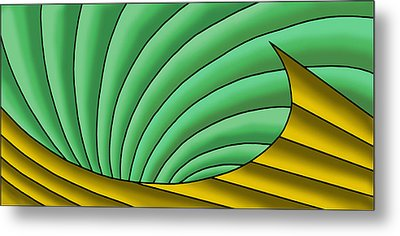 Metal Print featuring the digital art Wave  - Gold And Green by Judi Quelland