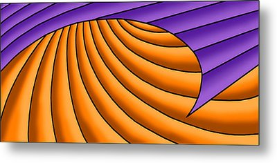 Metal Print featuring the digital art Wave - Purple And Orange by Judi Quelland