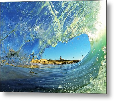 Wave And Lighthouse 1 Metal Print by Paul Topp