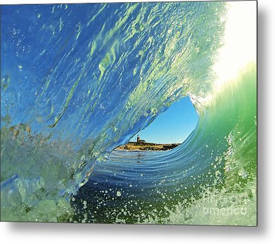 Metal Print featuring the photograph Wave And Lighthouse 2 by Paul Topp