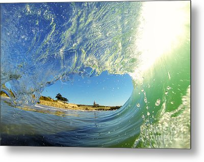 Metal Print featuring the photograph Wave And Lighthouse 3 by Paul Topp