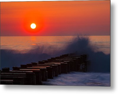 Breaking Wave At Sunrise Metal Print