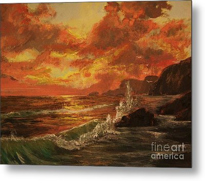 Metal Print featuring the painting Wave Crash by Vanessa Palomino