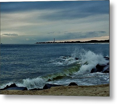 Wave Crashing At Cape May Cove Metal Print by Ed Sweeney