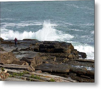 Wave Hitting Rock Metal Print by Catherine Gagne