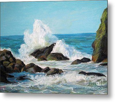 Metal Print featuring the painting Wave by Jieming Wang