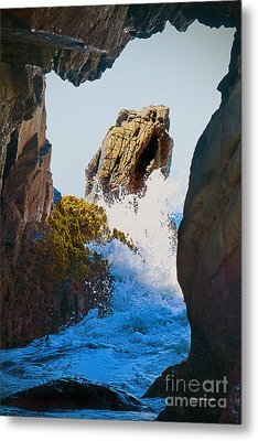 Wave Through The Cave At Pfiffer Beach In Big Sur Metal Print by Artist and Photographer Laura Wrede