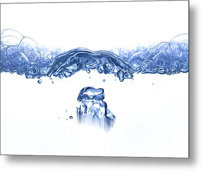 Waves And Bubbles - Rippling Surface Metal Print by Michal Boubin