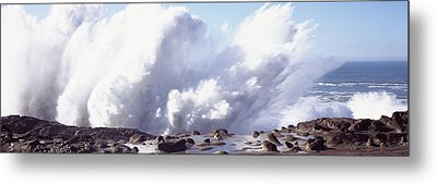 Waves Breaking On The Coast, Shore Metal Print by Panoramic Images