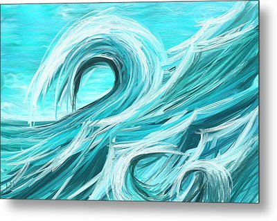 Waves Collision - Abstract Wave Paintings Metal Print