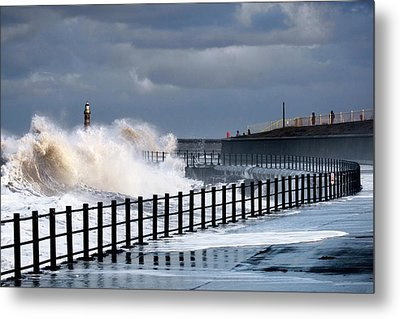 Waves Crashing, Sunderland, Tyne Metal Print by John Short