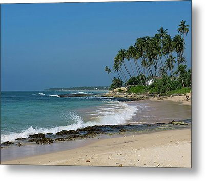 Waves Cresting Along Beach, A2 Road Metal Print by Panoramic Images