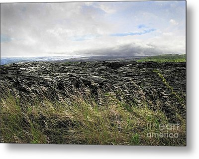 Metal Print featuring the photograph Waves Of Clouds Sea Lava And Grass by Ellen Cotton