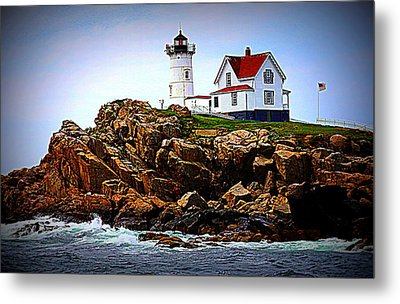 Waves On The Nubble 2 Metal Print