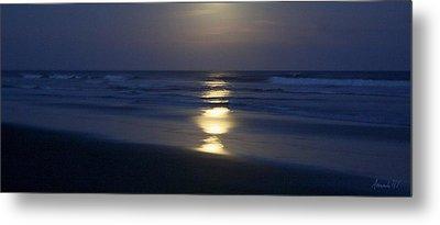 Waves Reflecting Moon Metal Print by Amanda Holmes Tzafrir